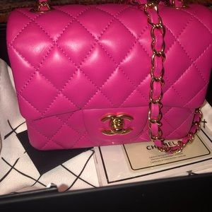 mini pink Chanel crossbody
